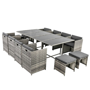 Bali 13PC  Outdoor Dining Set - Grey