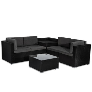 6PCS Outdoor Modular Lounge Sofa Coogee - Black