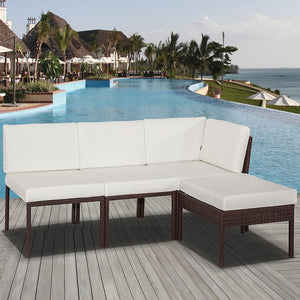 4PC PE Wicker Garden Modular Lounge Set - Brown