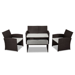 4PC PE Wicker Garden Lounge Sofa Set Chairs -Brown