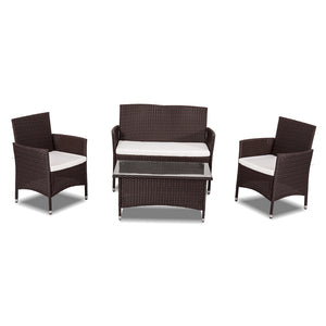 Curl 4 Piece PE Wicker Outdoor Furniture Set-Brown