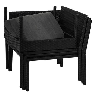 4PC PE Wicker Garden Modular Lounge Sofa Set Black