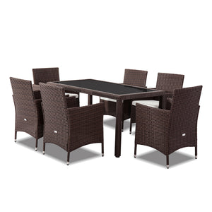 Coogee 7PC Dining Table Set Wicker Furniture- Brown