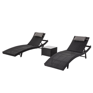 Pola Outdoor PE Wicker Sunbeds Package-Black