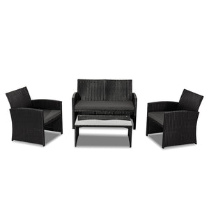 4PC PE Wicker Garden Lounge Sofa Set - Black