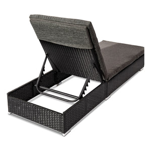 Borocay PE Wicker Outdoor Sunbed Lounge Set of 2,Black