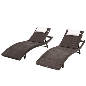 Pola Outdoor PE Wicker Twin Pack Sunbeds-Brown