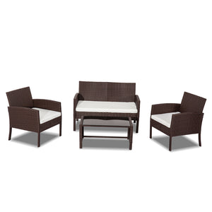Miami 4 Pc PE Wicker Outdoor Set-Brown