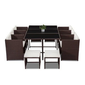 Bali 11 Piece Outdoor Dining Set - Brown