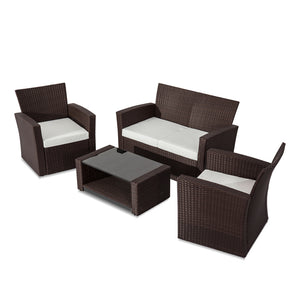 Bala 4 Seater Lounge Sofa Set – Brown