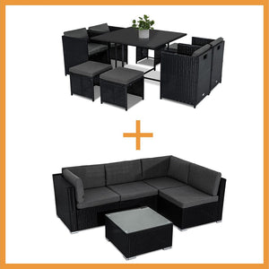 Outdoor Furniture Packages Horrocks 8 Seater Dining Set + Bondi 4 Seater Lounge Sofa - Black