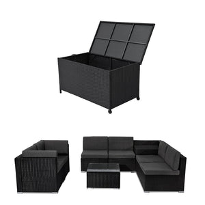 Outdoor Lounge Sofa Packages Lizard 8PCS Lounge Sofa with 320L Storage Box-Black