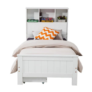 King Single Solid Pine Timber Bed Frame with Bookshelf Storage Headboard- White