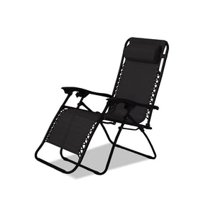 2 x Zero Gravity Portable Textilene Recliner – Black