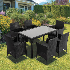 Coogee 7PC Dining Table Set - Black