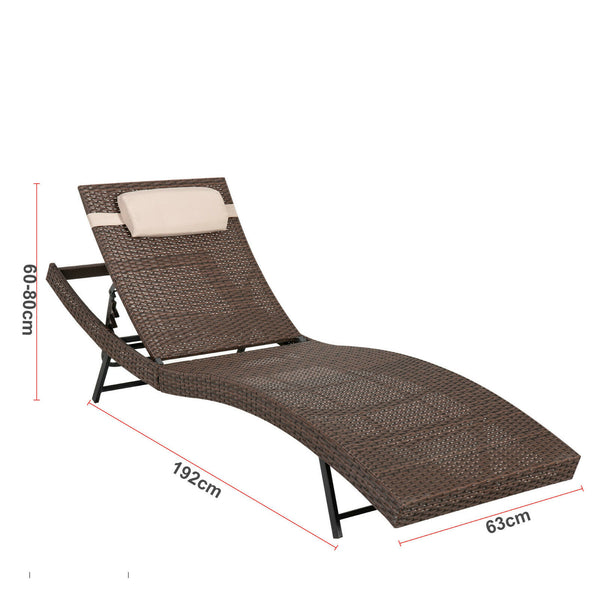 Pola PE Wicker Outdoor Sunbed-Brown