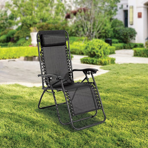 Zero Gravity Lounge Outdoor Portable Textilene Recliner – Black