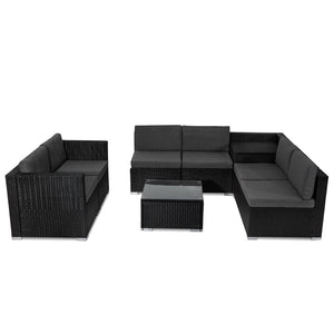 8PCS Outdoor Furniture Modular Lounge Sofa Lizard - Black