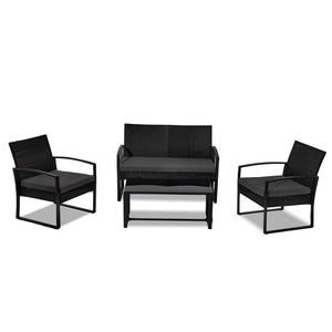 4PC PE Wicker Garden Lounge Set - Black