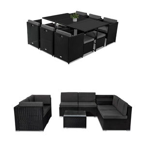 Outdoor Furniture Packages Bali 11 Piece Dining Set+ 8 Piece Lounge Sofa-Black