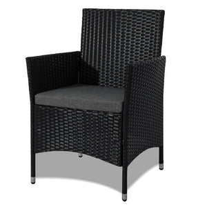 Curl 4 Piece PE Wicker Outdoor Furniture Set-Black