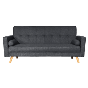 Linen Fabric 3 Seater Sofa Bed Recliner Futon Lounge Couch Wood Legs-Charcoal
