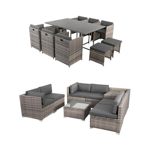 Outdoor Furniture Packages Bali 11 Piece Dining Set+ 8 Piece Lounge Sofa-Grey