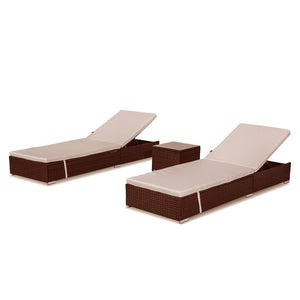 Borocay PE Wicker Outdoor Sunbed Package with Side Table,Brown