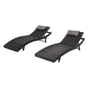 Pola Outdoor PE Wicker Twin Pack Sunbeds-Black