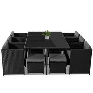 Bali 11 Piece Outdoor Dining Set - Black