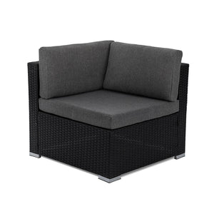 Living Outdoor Furniture Modular Lounge Components Corner Sofa-Black