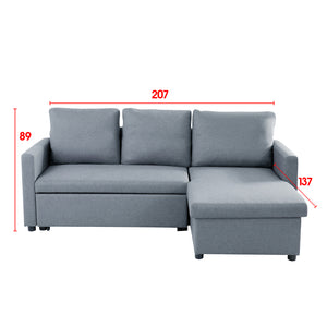 3 Seater Sofa Bed Lounge Storage Couch -Light Grey