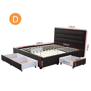 Double Greta Fabric Bed Frame Base with Storage Drawer-Charcoal