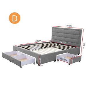 Double Greta Fabric Bed Frame Base with Storage Drawer-Light Grey