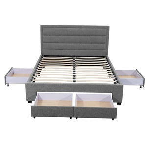 King Greta Fabric Bed Frame Base with Storage Drawer-Light Grey
