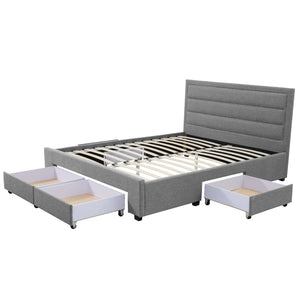 Queen Greta Fabric Bed Frame Base with Storage Drawer-Light Grey