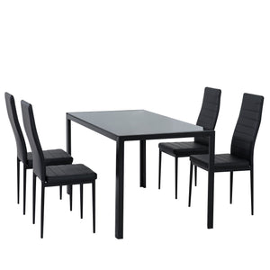 5PC Indoor Dining Table and Chairs Dinner Set Glass Leather Kitchen-Black