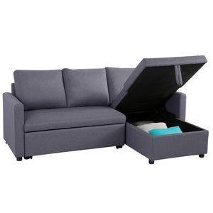 3 Seater Sofa Bed Lounge Storage Couch -Charcoal