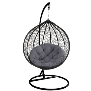 Wicker Hanging Chair Swing Egg Hammock Basket - Black