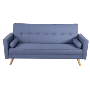 Linen Fabric 3 Seater Sofa Bed Recliner Futon Lounge Couch Wood Legs-Blue