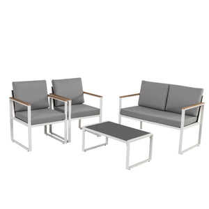 4PC Outdoor Wood Arm Table & Chair Set-White