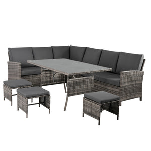 9 Seater Outdoor PE Wicker Lounge Dining Set-Grey
