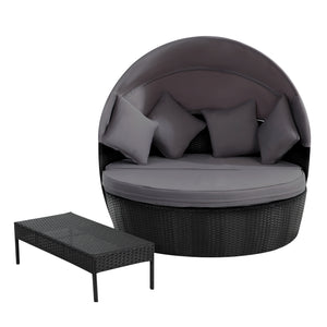 Outdoor Daybed Black 2-in-1 Poly Rattan Sunbed with Canopy