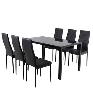 7PC Indoor Dining Table and Chairs Dinner Set Glass Leather Kitchen-Black