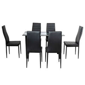 7PC Indoor Dining Table and Chairs Dinner Set Glass Leather Kitchen-Mix Black