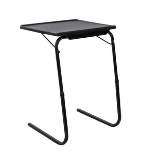 Foldable Table Adjustable Tray Laptop Desk with Removable Cup Holder-Black