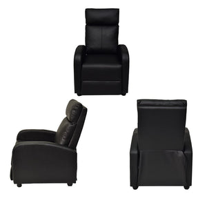 Single Adjustable Sofa Recliner Chair Home Theater Seating PU Leather -Black