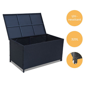 Outdoor PE Wicker Storage Box Garden 320L-Black