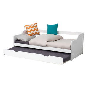 Single Wooden Timber Sofa Trundle Bed Frame-White