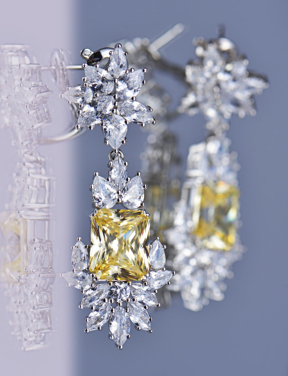 Earrings With Yellow Topaz & 5A Cubic Zirconia In Sterling Silver